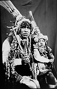 IIn this June 12, 2017 photo taken with a 19th century style box camera, Rudy Espiriya and his three-year-old son Dayiro Tahuara, pose for a portrait in the Sinakara Valley, during the Qoyllur Rit'i festival. Espiriya and his son perform a dance called Paapuri Guayri, representing the Paucartambo nation. The Christian part of the festival stretches back to the 1700s, when Jesus is said to have appeared to a young shepherd in the form of another boy.