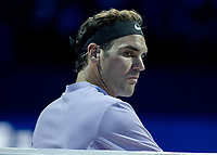 Tennis - 2017 Nitto ATP Finals at The O2 - Day One<br /> <br /> Group Boris Becker Singles: Roger Federer (Switzerland) vs. Jack Sock (USA)<br /> <br /> A stern looking Roger Federer (Switzerland) between games at the O2 Arena<br /> <br /> COLORSPORT/DANIEL BEARHAM