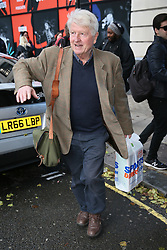 Stanley Johnson seen carrying a Sport Direct carrier bag as he leaves BBC Radio Two Studios . His MP son, Jo Johnson has recently resigned as Transport Minister - London. 12 Nov 2018 Pictured: Stanley Johnson. Photo credit: mega TheMegaAgency.com +1 888 505 6342