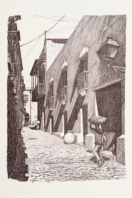 """Cat.#2 - Lithographic print of Pen and Ink drawing of a typical alley scene in Old San Juan depicting a young man carrying produce. Printed on heavy, pebbled stock.<br /> Paper size is 10x13"""". Image size is approximately 6x9"""" <br /> Cat.#2 - Impresión litográfica de un dibujo a plumilla de una escena típica de un callejón en el Viejo San Juan que describe un muchacho cargando un cesto de frutas. Impreso en papel grueso y textura liviana.<br /> Tamaño del papel es 10x13"""". Tamaño de la imagen es aproximadamente 6x9"""""""