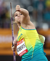 Australia's Kelsey-Lee Roberts competes in the Women's Javelin Throw Final at the Carrara Stadium during day seven of the 2018 Commonwealth Games in the Gold Coast, Australia. PRESS ASSOCIATION Photo. Picture date: Wednesday April 11, 2018. See PA story COMMONWEALTH Athletics. Photo credit should read: Danny Lawson/PA Wire. RESTRICTIONS: Editorial use only. No commercial use. No video emulation.
