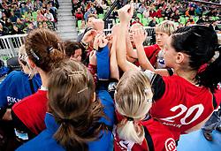 Alja Koren and other players of Krim  during handball match between RK Krim Mercator (SLO) and RK Podravka Vegeta (CRO) in Women's EHF Champions League, on November 13, 2010 in Arena Stozice, Ljubljana, Slovenia. Krim defeated Podravka 26:22 and qualified to Main Round of Champions League. (Photo By Vid Ponikvar / Sportida.com)