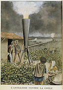 Firing a cannon into clouds to stop a hail storm, 1901. It was claimed that rain fell instead of the anticipated hail which would have damaged the grape vines in the wine producing area of Denice-en-Beaujolais. From 'Le Petit Journal', (Paris, 7 July 1901