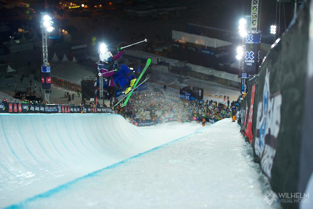 Annalisa Drew during Women's Ski SuperPipe Finals at the 2013 X Games Tignes in Tignes, France. ©Brett Wilhelm/ESPN