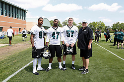A Group Photo of the Defensive Ends who attended the Philadelphia Eagles NFL football rookie camp at the teams practice facility on Saturday, May 17, 2014. (Photo by Brian Garfinkel)