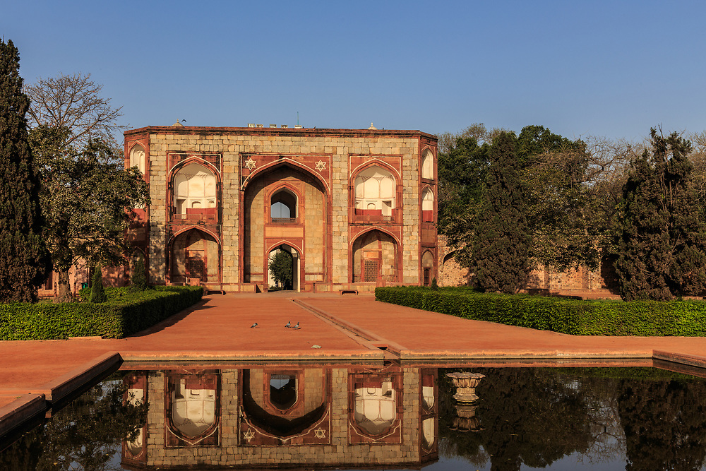 West Gate at Humayun's Tomb in New Delhi, India. The main entrance or the inner Gate is also known as West Gate. It is a 16 m high structure with rooms on each side of the passage. Now it houses the museum.