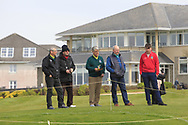 Watching the final group on the 18th during Round 2 of the Connacht U16 Boys Amateur Open Championship at Galway Bay Golf Club, Oranmore, Galway on Wednesday 17th April 2019.<br /> Picture:  Thos Caffrey / www.golffile.ie