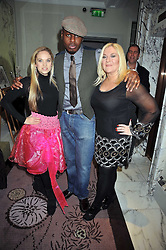 Left to right, ALLEGRA FELTZ, BEN OFOEDU and VANESSA FELTZ, at a party to celebrate the publication of 'In Bed With' held at the Artesian Bar,The Langham Hotel, 1c Portland Placeon 11th February 2009.