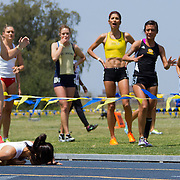 4/29/12 12:14:19 PM --- TRACK AND FIELD SPORTS SHOOTER ACADEMY 009 --- IRVINE, CA:  A runner falls during the Steve Scott InvitationalTack Meet held at U.C. Irvine. Photo by Chris Mast, Sports Shooter Academy