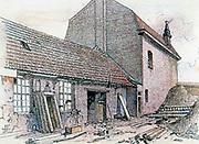 Ruined Monastery, Messines, 1914. Watercolour  by Adolf Hitler.   Belgium German World War I