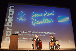 "© Licensed to London News Pictures. 8 April 2014. London, England. French fashion designer Jean Paul Gaultier opens his exhibition ""The Fashion World of Jean Paul Gaultier - From the Sidewalk to the Catwalk"" at the Barbican Art Gallery, London. The exhibition runs from 9 April to 25 August 2014 and is organised by the Montreal Museum of Fine Arts in collaboration with Maison Jean Paul Gaultier, Paris.   Photo credit: Bettina Strenske/LNP"