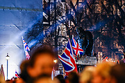 January 31, 2020, London, England, United Kingdom: Winston Churchill's statue is back dropped by British flags in London, Friday, Jan. 31, 2020. Britain officially leaves the European Union on Friday after a debilitating political period that has bitterly divided the nation since the 2016 Brexit referendum. (Credit Image: © Vedat Xhymshiti/ZUMA Wire)