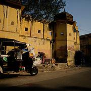 Colorful autorickshaw parked at Jaipur old town