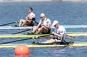Poznan, POLAND, Sunday, 23/06/2019, left, DEN M1X, Sverri Nielsen Gold Medalist,  GER M1X, centre, Oliver Zeidler, 5th, right, NOR M1X  Kjetil Borch 6th, in the Men's Single Sculls Final,    FISA World Rowing Cup II, Malta Lake Course, [© Peter SPURRIER/Intersport Images],