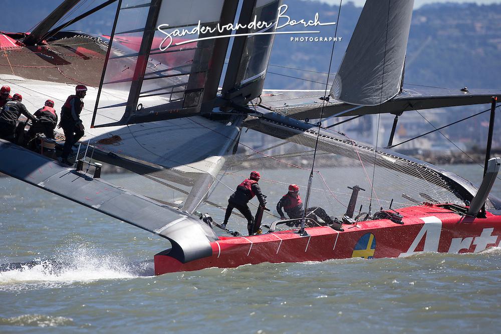 AC72 testing in San Francisco south bay. Artemis Racing April 2013, Alameda, USA