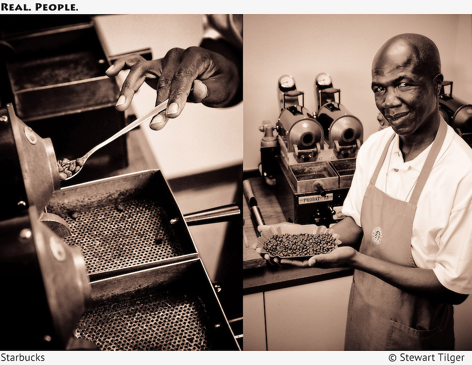 Small batch coffee roaster holding beans.