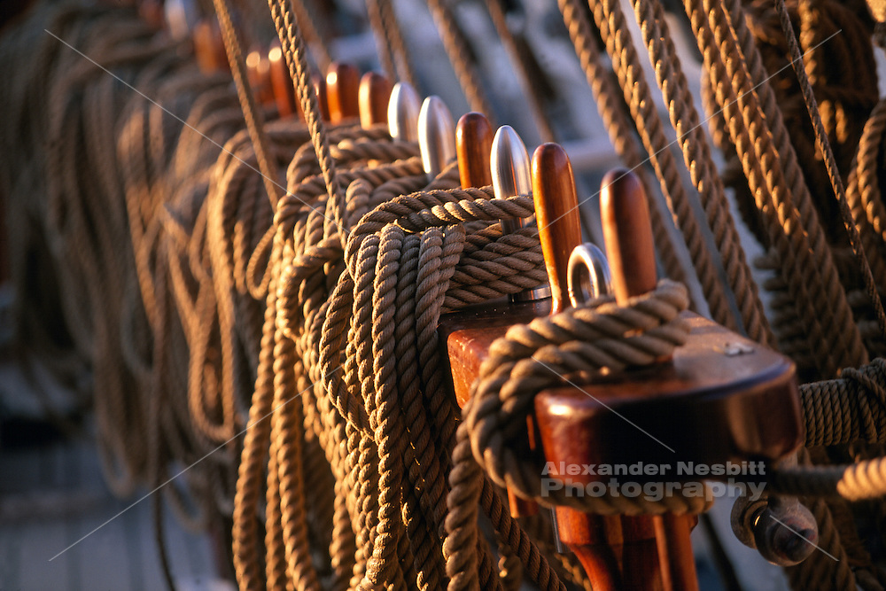 USA, Newport, RI - Lines on aboard a Tall Ship neatly put away during the Newport Tall Ships Festival.