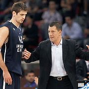 Anadolu Efes's coach Ufuk SARICA (R) and Stanko BARAC (L) during their Two Nations Cup basketball match Anadolu Efes between Panathinaikos at Abdi Ipekci Arena in Istanbul Turkey on Saturday 01 October 2011. Photo by TURKPIX