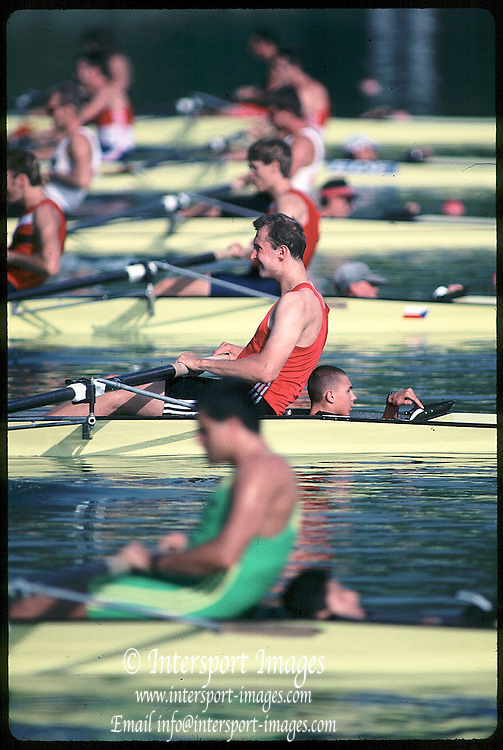 Barcelona,  SPAIN, 1992 Olympic Regatta. Heat of the men's coxed fours M4+, Lake Banyoles, Nr Barcelona SPAIN,  [Photo, Peter Spurrier/Intersport-images]