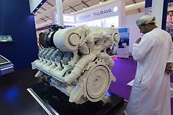 Large marine V12 diesel engine manufactured by Baudouin on display at Dubai International Boat Show 2016 , United Arab Emirates
