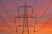 Electricity pylon and power cables near Burbage, Leicestershire, United Kingdom
