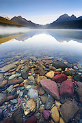 Fall morning on Glacier National Park's Bowman Lake, Montana.