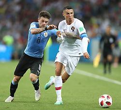 SOCHI, June 30, 2018  Cristiano Ronaldo (R) of Portugal vies with Nahitan Nandez of Uruguay during the 2018 FIFA World Cup round of 16 match between Uruguay and Portugal in Sochi, Russia, June 30, 2018. (Credit Image: © Fei Maohua/Xinhua via ZUMA Wire)
