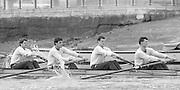 London. United Kingdom.  1987 Pre Fixture, Varsity Boat Race. National Squad vs Cambridge University BC on the Championship Course Mortlake to Putney. River Thames.  Saturday 21.03.1987<br /> <br /> [Mandatory Credit: Peter SPURRIER/Intersport images]<br /> <br /> left to right. Stephen PEEL [PRESIDENT] Jim PEW, Jim GARMAN, Paddy BROUGHTON . 19870321 Pre Boat Race fixture, National Squard vs Cambridge UBC, London UK