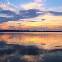 """""""Majestic Mirror""""<br /> <br /> Wonderful pastel sunset on the Great Lakes!!<br /> <br /> Sunset Images by Rachel Cohen"""