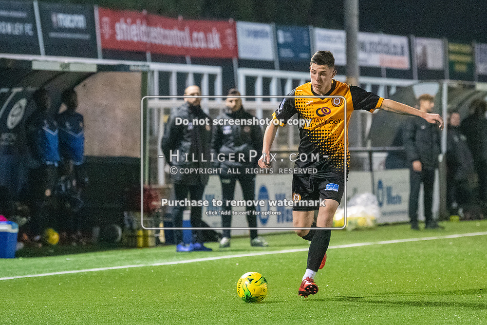 BROMLEY, UK - OCTOBER 30: Lee Lewis, of Cray Wanderers FC, during the Kent Senior Cup match between Cray Wanderers and VCD Athletic at Hayes Lane on October 30, 2019 in Bromley, UK. <br /> (Photo: Jon Hilliger)