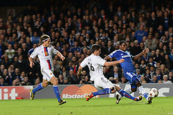 LONDON, ENGLAND - September 18: Chelsea's Samuel Eto'o takes a shot at goal during the UEFA Champions League Group E match between Chelsea from England and Basel from Switzerland played at Stamford Bridge, on September 18, 2013 in London, England. (Photo by Mitchell Gunn/ESPA)