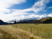 View of the Organ Range of mountains, overlooking a sheep paddock, along Highway 7 on the way to Lewis Pass, Canterbury, New Zealand; June 2013
