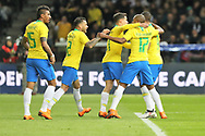 Gabriel Jesus (R) (Brazil) celebrates his goal with teammates during the International Friendly Game football match between Germany and Brazil on march 27, 2018 at Olympic stadium in Berlin, Germany - Photo Laurent Lairys / ProSportsImages / DPPI