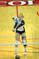 13 September 2011: Sierra Burris sets during an NCAA volleyball match between the Ramblers of Loyola and the Illinois State Redbirds at Redbird Arena in Normal Illinois.
