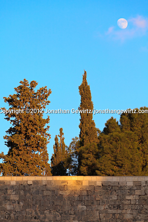 Moonrise over the Kotel, the Western Wall of the Temple of Jerusalem. WATERMARKS WILL NOT APPEAR ON PRINTS OR LICENSED IMAGES.