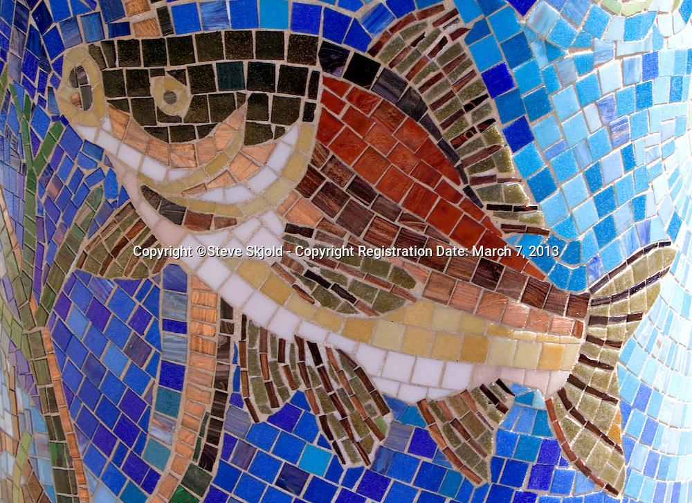 Fish mosaic sculpture. Route 66 Community Public Art Tour, Joliet Illinois IL USA