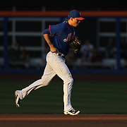 Wilmer Flores, New York Mets, fielding at second base in the early evening light during the New York Mets Vs Washington Nationals. MLB regular season baseball game at Citi Field, Queens, New York. USA. 1st August 2015. Photo Tim Clayton