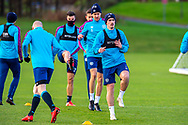 Jamie Walker (#7) of Heart of Midlothian FC leads the way during the Heart of Midlothian press conference and training session at Oriam Sports Performance Centre, Edinburgh, Scotland on 23 November 2020.