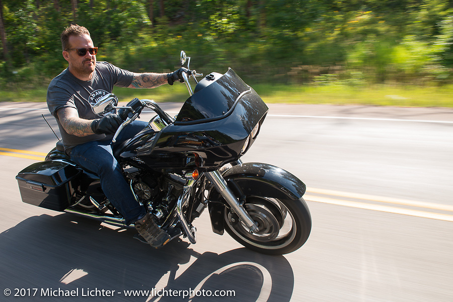 Bobby Seeger leading Aidan's Ride to raise money for the Aiden Jack Seeger nonprofit foundation to help raise awareness and find a cure for ALD (Adrenoleukodystrophy) during the annual Sturgis Black Hills Motorcycle Rally. Vanocker Canyon between Sturgis and Nemo, SD, USA. Tuesday August 8, 2017. Photography ©2017 Michael Lichter.