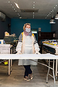 fish store owner during the Covid 19 crisis and lockdown France Limoux April 2020