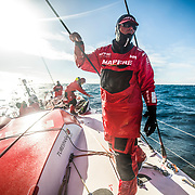 Leg 7 from Auckland to Itajai, day 04 on board MAPFRE, Antonio Cuervas-Mons checking the front sails. 21 March, 2018.