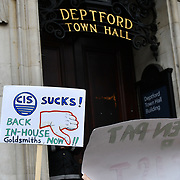 Protestors of Goldsmiths Anti-Racist Action take action occupied Deptford Town Hall building, Education Officer Hamna Imran was attacked at election week, faced racist abuse— with graffiti mocking her accent and her banner being stripped down. Shame on the UK demon-cracy racism year in year oppresses of all minority.