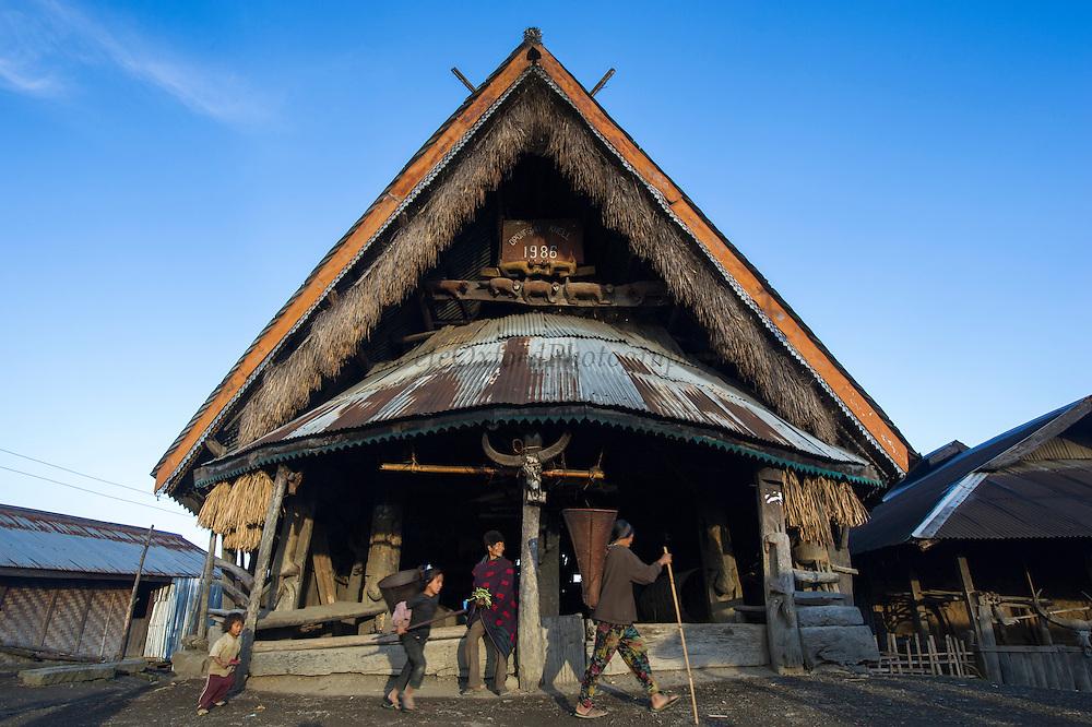 Konyak Naga Morong or communal house<br /> Konyak Naga headhunting Tribe<br /> Mon district<br /> Nagaland,  ne India