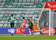 GOAL 1-1Plymouth Argyle Midfielder Joe Edwards (8) heads the ball and scorers during the EFL Sky Bet League 1 match between Plymouth Argyle and Sunderland at Home Park, Plymouth, England on 1 May 2021.