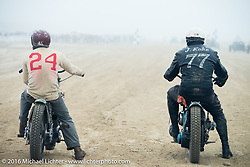 Go Takamine and Josh Kohn head to head in a Harley vs Indian race at TROG West - The Race of Gentlemen. Pismo Beach, CA, USA. Saturday October 15, 2016. Photography ©2016 Michael Lichter.