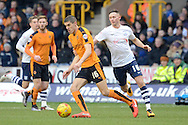 Wolverhampton Wanderers midfielder Conor Coady turns Preston North End midfielder Alan Browne during the Sky Bet Championship match between Wolverhampton Wanderers and Preston North End at Molineux, Wolverhampton, England on 13 February 2016. Photo by Alan Franklin.