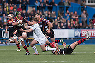 Nic Cudd of the Newport Gwent Dragons (l) hands off Garyn Smith  of the Cardiff Blues. Guinness Pro12 rugby match, Cardiff Blues v Newport Gwent Dragons at the Cardiff Arms Park in Cardiff, South Wales on Sunday 17th April 2016.<br /> pic by Simon Latham, Andrew Orchard sports photography.
