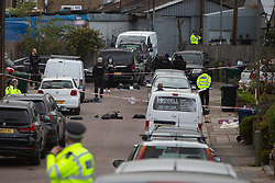 © Licensed to London News Pictures. 23 09 2020 London, UK. Police at the scene on Dale Road in Barnet where 10 police officers were attacked with a chemical substance whilst executing a warrant. Photo credit: Paul Davey/LNP