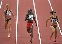 Friidrett. VM 2001 Edmonton. v.l. Grit BREUER Deutschland 4. , Siegerin Amy MBACKE THIAM Senegal,<br />3. Ana GUEVARA Mexiko<br />Leichtathletik  WM 2001    <br />400m Finale Frauen