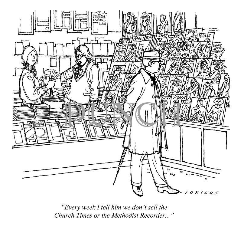 """""""Every week I tell him we don't sell the Church Times or the Methodist Recorder..."""" (a cartoon showing a clergyman looking at pornographic magazines in a sex shop)"""